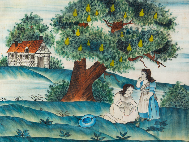 American Folk Art Painting, Picking Pears Anonymous, circa 1845 Watercolor on brushed cotton (velvet), entire view sans frame