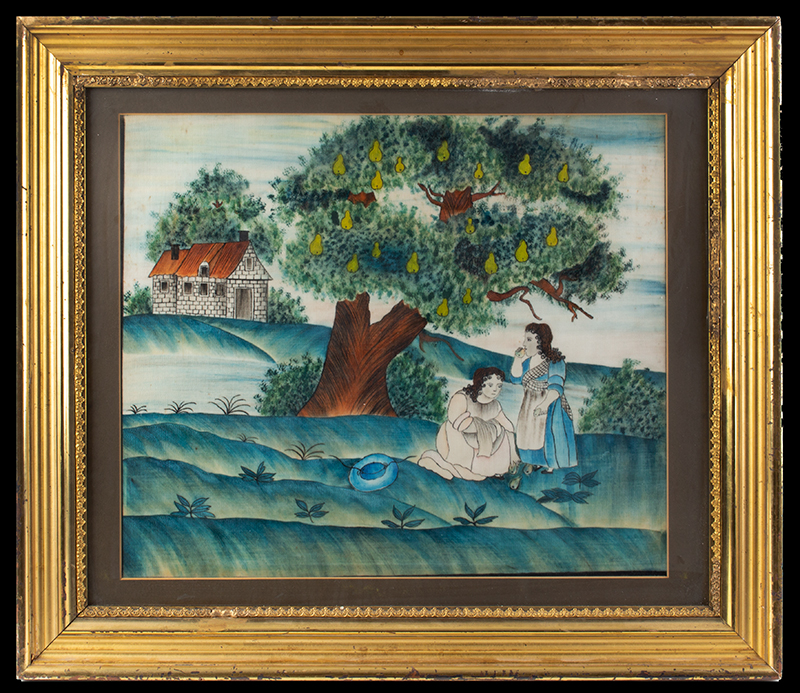 American Folk Art Painting, Picking Pears Anonymous, circa 1845 Watercolor on brushed cotton (velvet), entire view