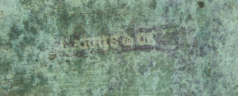 Weathervane, Cow, Signed Harris, Verdigris Surface Harris & Co., Boston, circa 1870-1890 Flattened full body in wonderful honest untouched surface, signature view