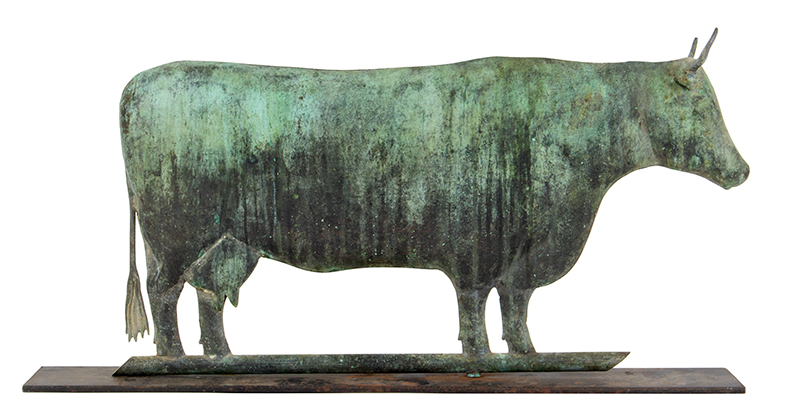Weathervane, Cow, Signed Harris, Verdigris Surface Harris & Co., Boston, circa 1870-1890 Flattened full body in wonderful honest untouched surface, entire view 1