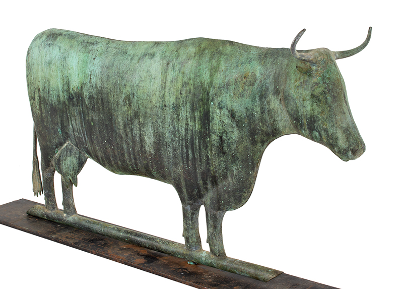 Weathervane, Cow, Signed Harris, Verdigris Surface Harris & Co., Boston, circa 1870-1890 Flattened full body in wonderful honest untouched surface, entire view 2