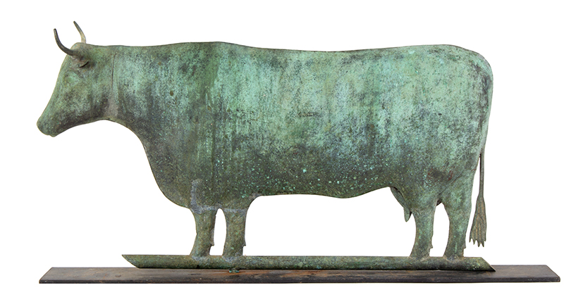 Weathervane, Cow, Signed Harris, Verdigris Surface Harris & Co., Boston, circa 1870-1890 Flattened full body in wonderful honest untouched surface, entire view 3