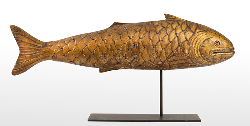 Antique Trade Sign and/or Weathervane Carved and Gilded Fish Mongers  in the Form of a Bluefish Unknown Maker, Late 19th Century