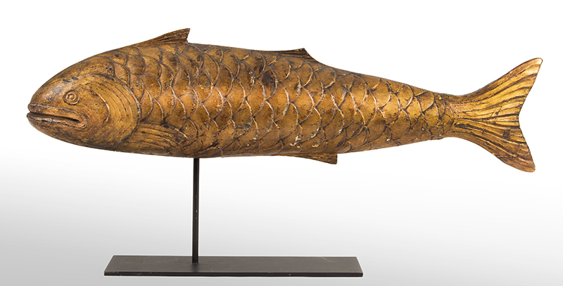 Carved and Gilded Fish Mongers Trade Sign and/or Weathervane in the Form of a Bluefish Unknown Maker, Late 19th Century