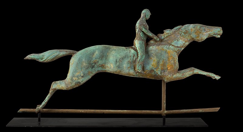 Antique, Weathervane, Racing Horse & Jockey, Spectacular Verdigris & Traces of Gilt  J.W. Fiske, New York, circa 1870 A molded sheet copper weathervane in great untouched original surface, entire view 1