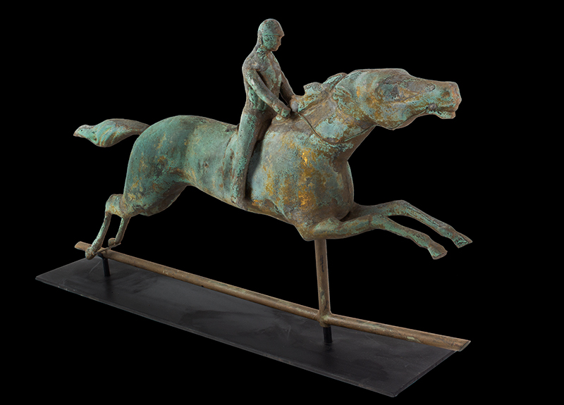 Antique, Weathervane, Racing Horse & Jockey, Spectacular Verdigris & Traces of Gilt  J.W. Fiske, New York, circa 1870 A molded sheet copper weathervane in great untouched original surface, entire view 2
