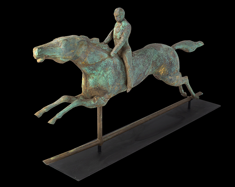 Antique, Weathervane, Racing Horse & Jockey, Spectacular Verdigris & Traces of Gilt  J.W. Fiske, New York, circa 1870 A molded sheet copper weathervane in great untouched original surface, entire view 3