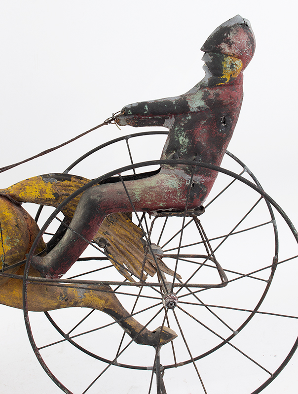 19th Century Horse & Sulky w/ Driver Weathervane  Attributed to Jewell & Co., Waltham, MA, circa 1860 Copper, zinc, and iron, detail view 1