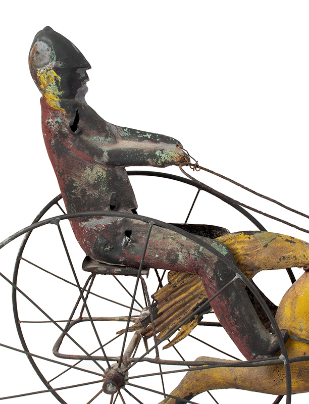 19th Century Horse & Sulky w/ Driver Weathervane  Attributed to Jewell & Co., Waltham, MA, circa 1860 Copper, zinc, and iron, detail view 2