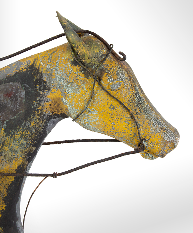 19th Century Horse & Sulky w/ Driver Weathervane  Attributed to Jewell & Co., Waltham, MA, circa 1860 Copper, zinc, and iron, detail view 3