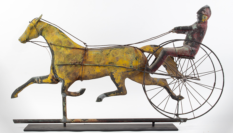 19th Century Horse & Sulky w/ Driver Weathervane  Attributed to Jewell & Co., Waltham, MA, circa 1860 Copper, zinc, and iron, entire view 1