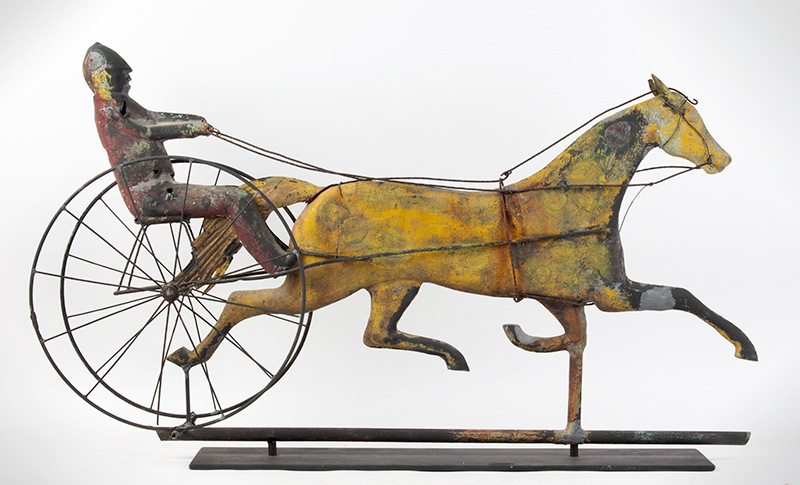 19th Century Horse & Sulky w/ Driver Weathervane  Attributed to Jewell & Co., Waltham, MA, circa 1860 Copper, zinc, and iron, entire view 2