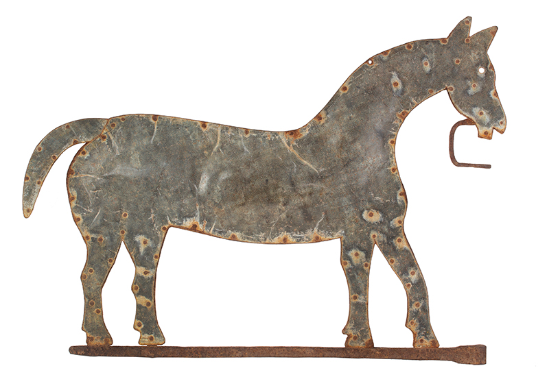 Antique Weathervane, Horse, Galvanized Metal Unknown Maker, circa 1850-1890, entire view 1