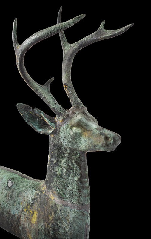 Antique, Weathervane, Leaping Stag, Cushing & White, Untouched Condition Cushing & White, Waltham, Massachusetts, circa 1880 A beautiful and honest encyclopedic surface…sizing, verdigris & traces of gilt, head detail