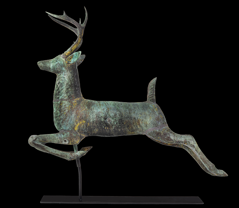 Antique, Weathervane, Leaping Stag, Cushing & White, Untouched Condition Cushing & White, Waltham, Massachusetts, circa 1880 A beautiful and honest encyclopedic surface…sizing, verdigris & traces of gilt, entire view 4