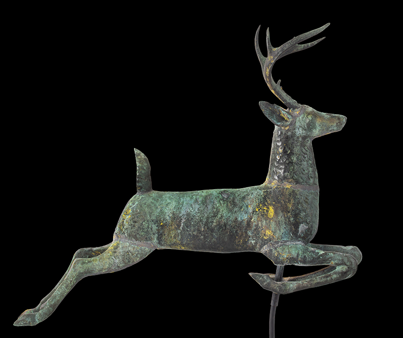 Antique, Weathervane, Leaping Stag, Cushing & White, Untouched Condition Cushing & White, Waltham, Massachusetts, circa 1880 A beautiful and honest encyclopedic surface…sizing, verdigris & traces of gilt, entire view 5