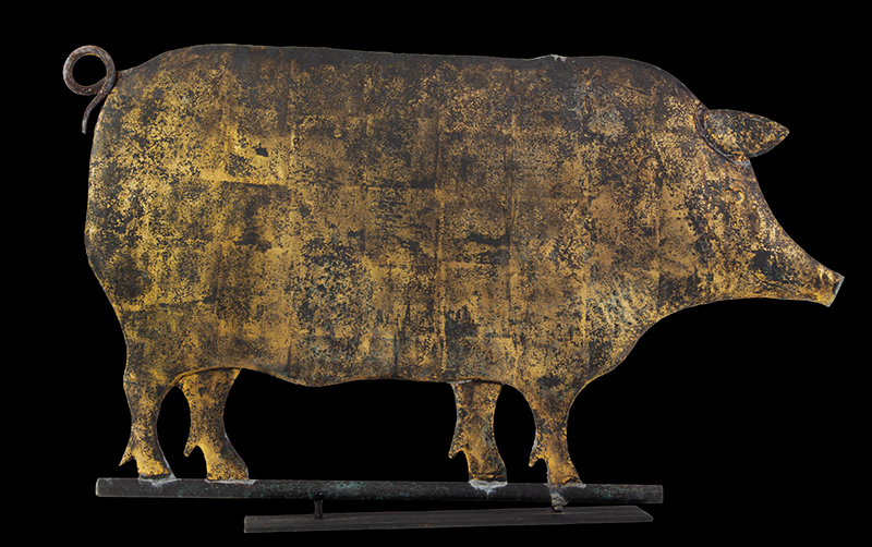 Antique Weathervane, Pig, Great Surface, Copper, Full Bodied, Flattened Possibly L.W. Cushing, Waltham, Massachusetts, circa 1880, entire view 1