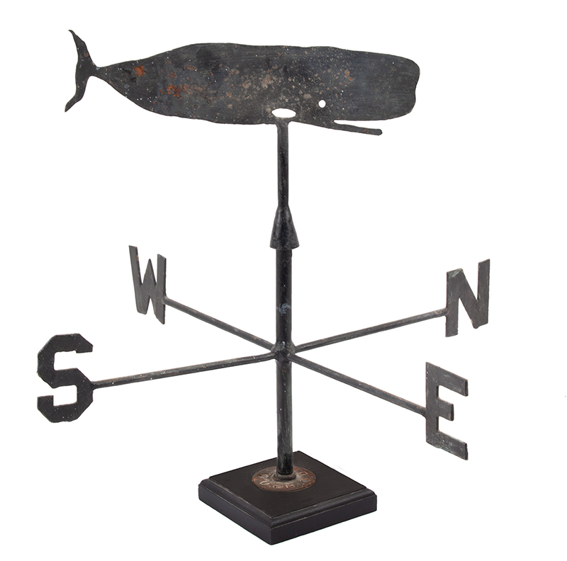 Vintage Sheet and Wrought Iron Weathervane, Whale on Harpoon & Directionals'  Marshfield, Massachusetts, entire view