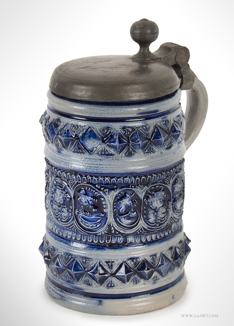 """Westerwald Salt Glazed Pewter Mounted Tankard, Humpen with Portraits Germany, circa 1700 – 1740, Lid Inscribed """"AG/16"""", entire view 1"""