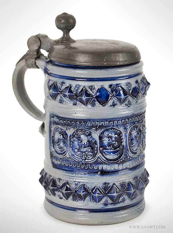 """Westerwald Salt Glazed Pewter Mounted Tankard, Humpen with Portraits Germany, circa 1700 – 1740, Lid Inscribed """"AG/16"""", entire view 2"""