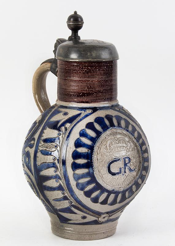 18th Century Westerwald GR Jug, Krug, Gray Salt Glaze, Cobalt & Manganese  Germany, circa 1725, entire view 1