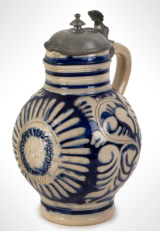 Westerwald Blue Glazed Salt Glaze Stoneware Krug, Pewter Mounted Germany, circa 1700, entire view 1