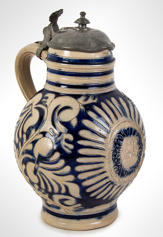 Westerwald Blue Glazed Salt Glaze Stoneware Krug, Pewter Mounted Germany, circa 1700, entire view 3
