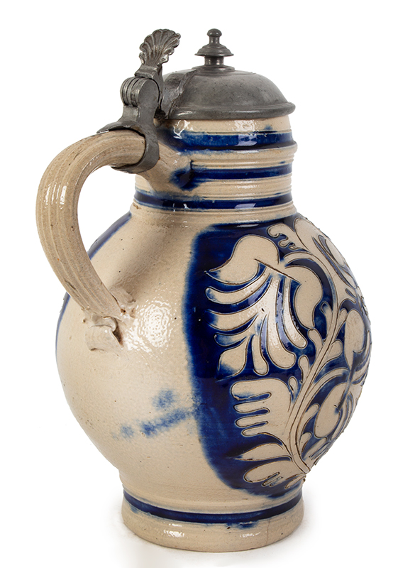 Westerwald Blue Glazed Salt Glaze Stoneware Krug, Pewter Mounted Germany, circa 1700, entire view 4