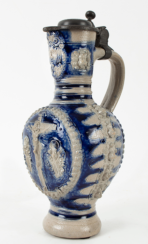 Westerwald Blue and Gray Saltglaze Narrow Neck (Enghals) Jug, Crucifixion  Westerwald, Germany, circa 1650-1670, entire view 1
