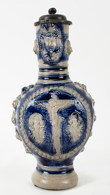 Westerwald Blue and Gray Saltglaze Narrow Neck (Enghals) Jug, Crucifixion  Westerwald, Germany, circa 1650-1670, entire view 2