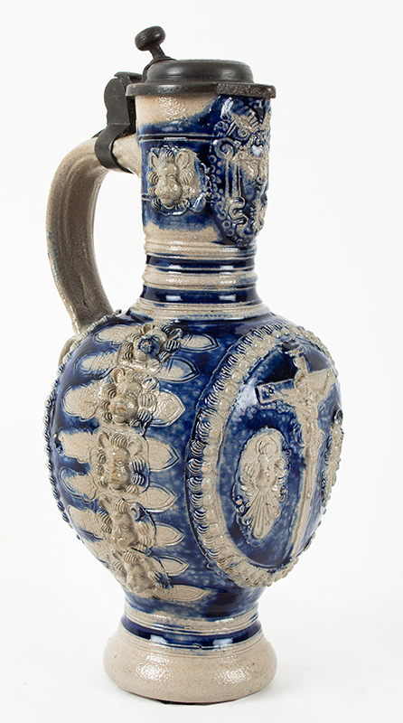 Westerwald Blue and Gray Saltglaze Narrow Neck (Enghals) Jug, Crucifixion  Westerwald, Germany, circa 1650-1670, entire view 3