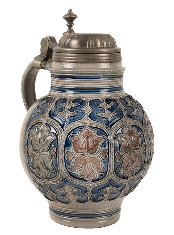 Salt Glaze Jug, Floral Krugelbauch Krug, Pewter Mounted  Westerwald or Raeren, Germany, Beginning of 18th Century   Fine condition, cobalt blue and manganese, entire view 1