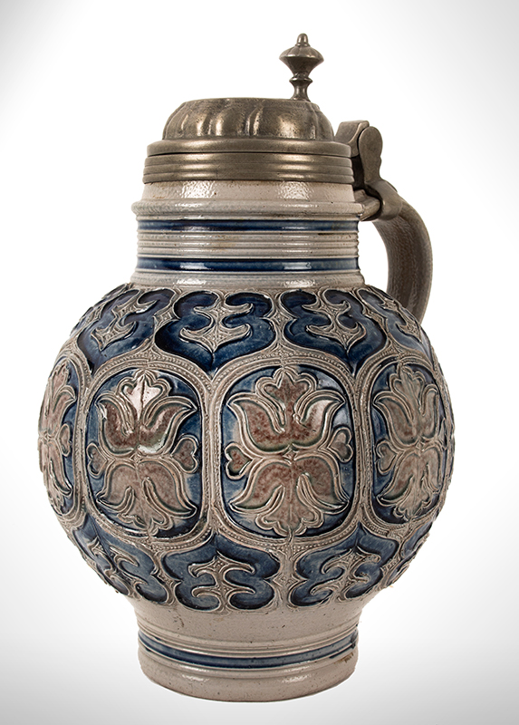 Salt Glaze Jug, Floral Krugelbauch Krug, Pewter Mounted  Westerwald or Raeren, Germany, Beginning of 18th Century   Fine condition, cobalt blue and manganese, entire view 2