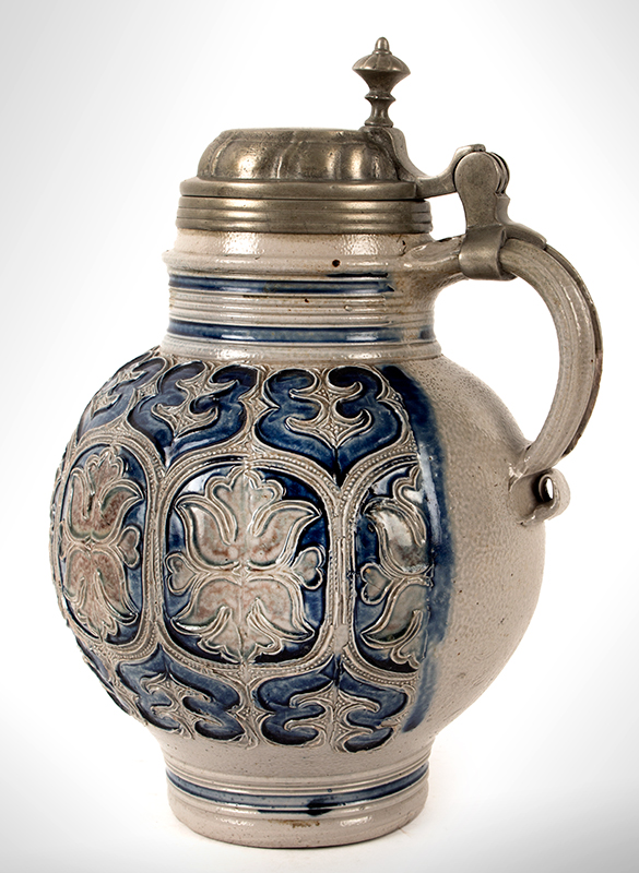 Salt Glaze Jug, Floral Krugelbauch Krug, Pewter Mounted  Westerwald or Raeren, Germany, Beginning of 18th Century   Fine condition, cobalt blue and manganese, entire view 3