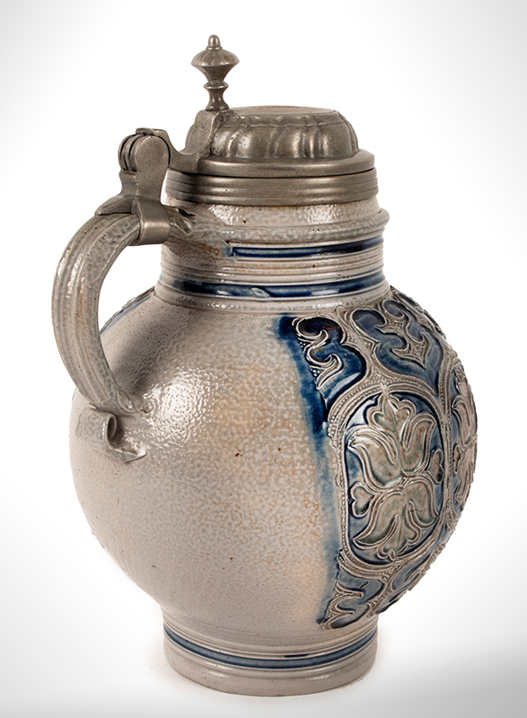 Salt Glaze Jug, Floral Krugelbauch Krug, Pewter Mounted  Westerwald or Raeren, Germany, Beginning of 18th Century   Fine condition, cobalt blue and manganese, entire view 4