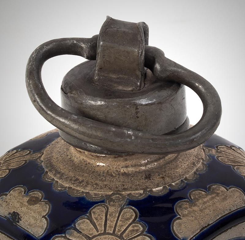 Westerwald Bottle, Square Body Kruke, Pewter Mounted Jar Germany, circa 1730-1750, cap detail