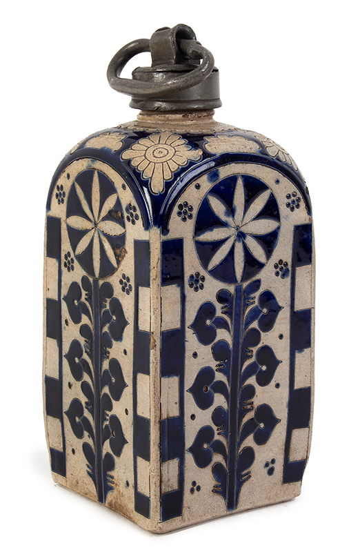 Westerwald Bottle, Square Body Kruke, Pewter Mounted Jar Germany, circa 1730-1750, entire view 1