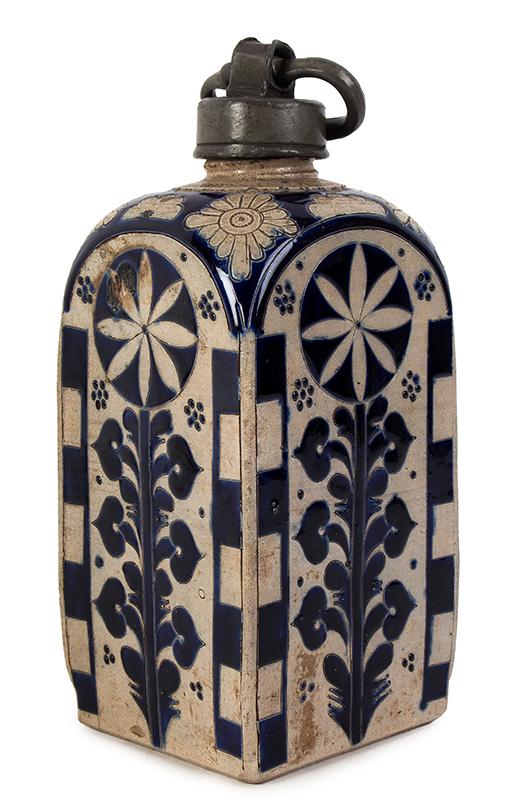 Westerwald Bottle, Square Body Kruke, Pewter Mounted Jar Germany, circa 1730-1750, entire view 3
