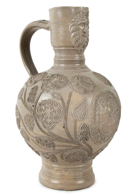 Westerwald Saltglaze Dated Jug, Queen Mary Portrait Roundel, Dated 1679  Westerwald, Germany  Gray Narrow neck (Enghals) ewer jug standing at 10-inches, entire view 2