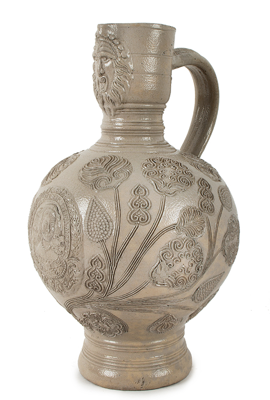 Westerwald Saltglaze Dated Jug, Queen Mary Portrait Roundel, Dated 1679  Westerwald, Germany  Gray Narrow neck (Enghals) ewer jug standing at 10-inches, entire view 3