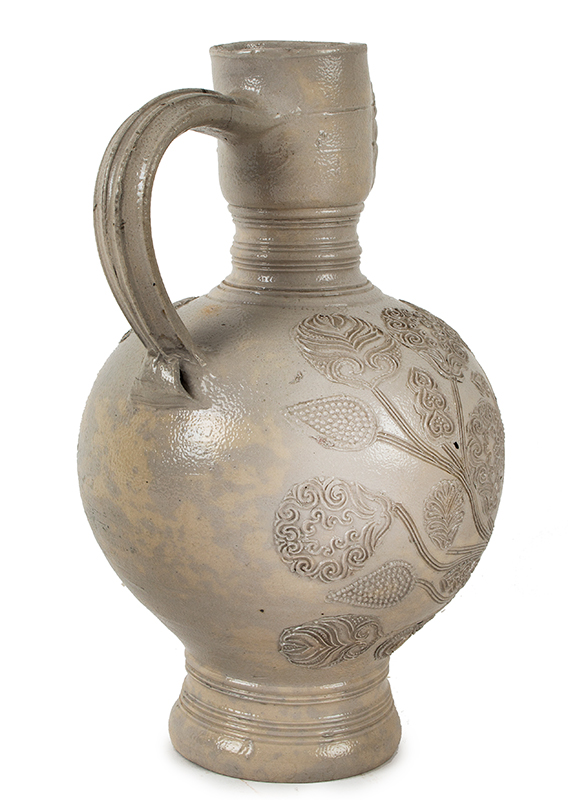 Westerwald Saltglaze Dated Jug, Queen Mary Portrait Roundel, Dated 1679  Westerwald, Germany  Gray Narrow neck (Enghals) ewer jug standing at 10-inches, entire view 4