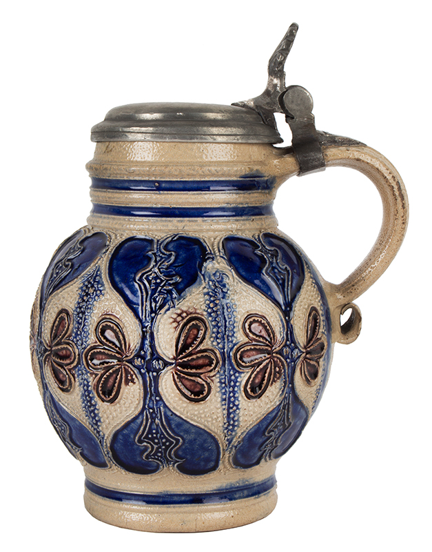 Westerwald, Small Salt Glazed Pot Belly Pitcher, Kugelbauchkrug, Pewter Mounted Germany, Circa 1700, entire view