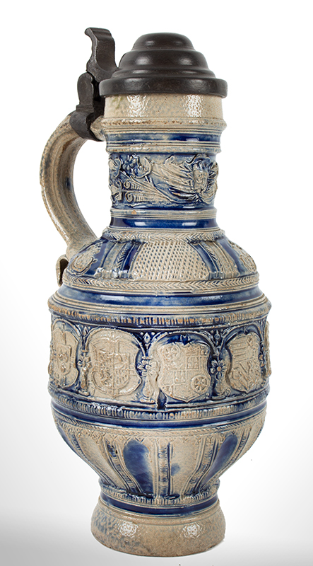 "Westerwald Blue and Gray Saltglaze Narrow Neck (Enghals) Jug, Signed & Dated  Signed ""IK"" and Dated 1619; other initials present…, entire view 1"