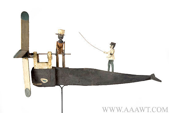 Folk Art Whirligig, Whale, Man in Tin Hat Cranking Propeller New England, Circa 1880 to 1890 Anonymous, entire view 2