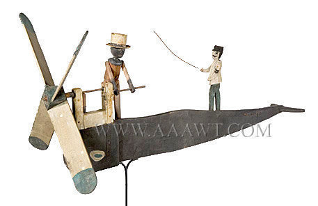 Folk Art Whirligig, Whale, Man in Tin Hat Cranking Propeller New England, Circa 1880 to 1890 Anonymous, entire view 1