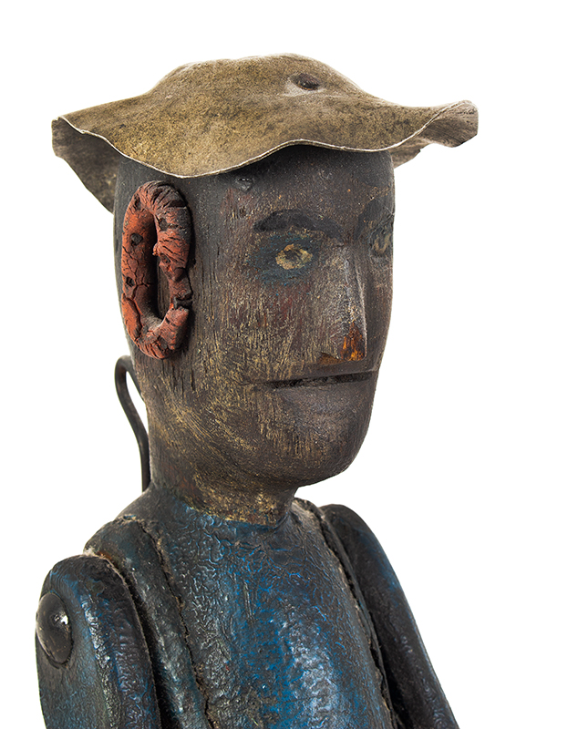 Whirligig, Folk Art, Original Painted Surface History Anonymous, circa 1900 Pine and oak…very nice surface history, head view