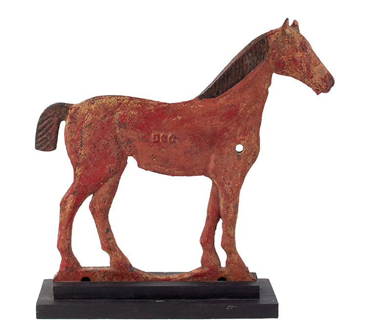 Antique Windmill Weight, Bob-Tail Horse, Old Paint Dempster Mill Manufacturing Company Beatrice, Nebraska, circa 1890-1925 A fine casting displaying great old surface., entire view 1