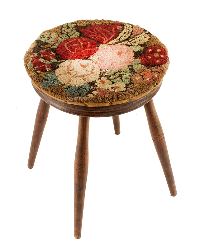 Windsor Stool, Medium-High Height, Delicate, Yarn Sewn Top, Original Surface Unknown maker, circa 1780-1820, entire view