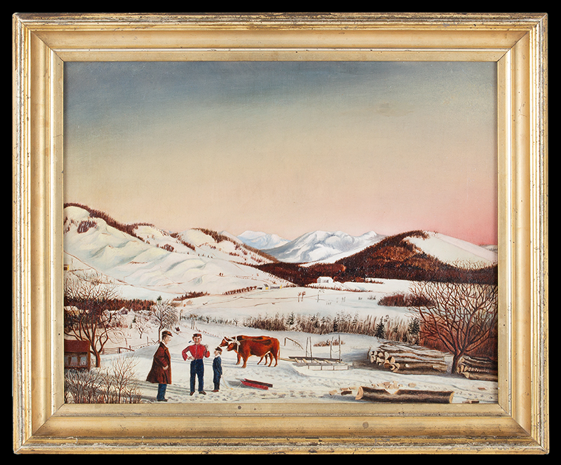 Antique Painting, Rural Winter Landscape, Maine Scene, Sarah Jane Prentiss (1823-1877), entire view