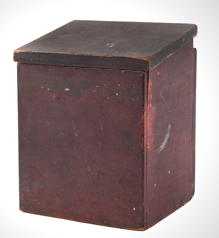 Antique, Country Salt Box, Original Red Paint America, 19th Century Poplar, entire view 1